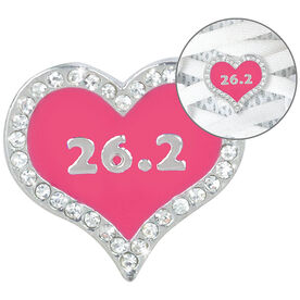 LaceBLING Shoelace Charm - 26.2 Marathon Pink Heart
