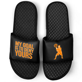 Guys Lacrosse Black Slide Sandals - My Goal Is To Deny Yours