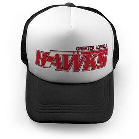 Trucker Hat - Greater Lowell Hawks Hockey Logo (Black)