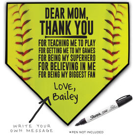 Softball Home Plate Plaque - Dear Mom