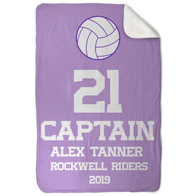 Volleyball Sherpa Fleece Blanket - Personalized Captain