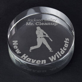 Baseball Personalized Engraved Crystal Gift - Player Silhouette with Custom Text (Batter)