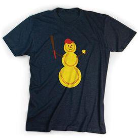 Softball Tshirt Short Sleeve Softball Snowman