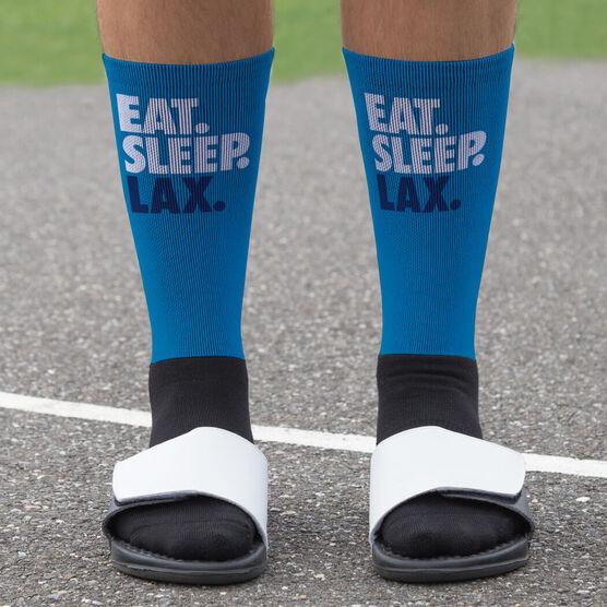 Guys Lacrosse Printed Mid-Calf Socks - Eat Sleep Lax (Stick)