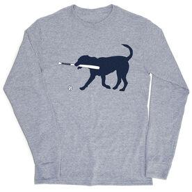 Baseball Tshirt Long Sleeve - Navy Baseball Dog