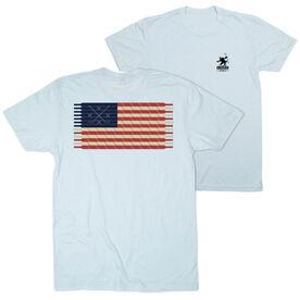 Hockey Short Sleeve T-Shirt - Hockey Laces Flag (Logo Collection)