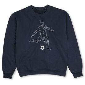 Soccer Crew Neck Sweatshirt - Soccer Guy Player Sketch