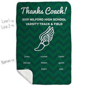 Track and Field Sherpa Fleece Blanket - Personalized Thanks Coach Chevron