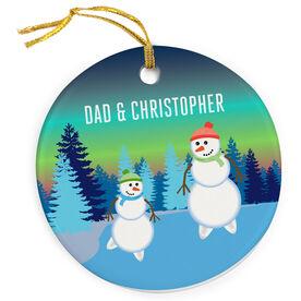 Figure Skating Porcelain Ornament Snowman Father & Child