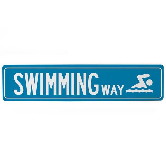 "Swimming Aluminum Room Sign - Swimming Way (4""x18"")"