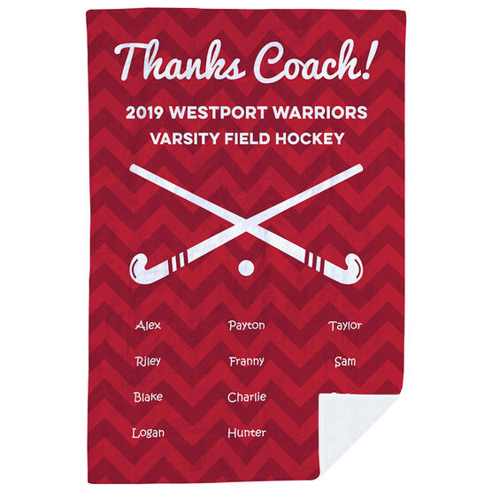 Field Hockey Premium Blanket - Personalized Thanks Coach Chevron
