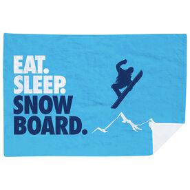 Snowboarding Premium Blanket - Eat. Sleep. Snowboard. Horizontal