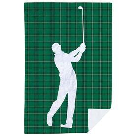 Golf Premium Blanket - Plaid Pattern Golfer