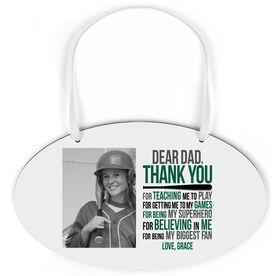 Softball Oval Sign - Dear Dad With Photo