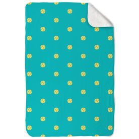 Softball Sherpa Fleece Blanket Polka Dots