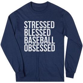 Baseball Long Sleeve Tee - Stressed Blessed Baseball Obsessed