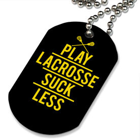 Lacrosse Printed Dog Tag Necklace Play Lacrosse Suck Less