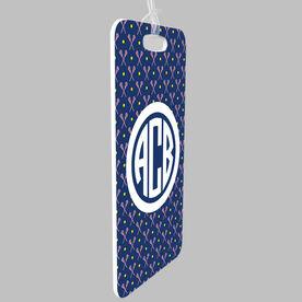 Girls Lacrosse Bag/Luggage Tag - Personalized Girls Lacrosse Pattern Monogram