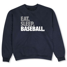Baseball Crew Neck Sweatshirt - Eat Sleep Baseball Bold Text