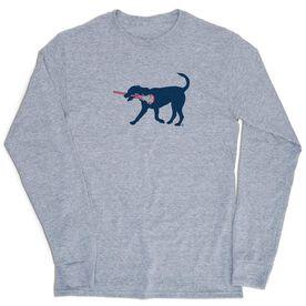 Girls Lacrosse Tshirt Long Sleeve - Lula The Lax Dog (Blue)