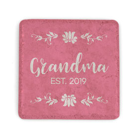 Personalized Stone Coaster - Grandma with Year