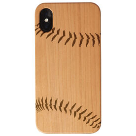 Baseball Engraved Wood IPhone® Case - Stitches