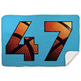 Basketball Sherpa Fleece Blanket - Custom Basketball Numbers