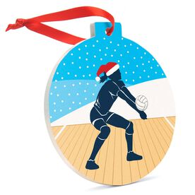 Volleyball Round Ceramic Ornament - Silhouette with Santa Hat