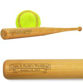 Softball Mini Engraved Bat Wedding