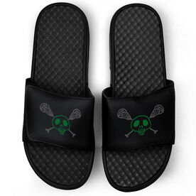 Lacrosse Black Slide Sandals - Sticks & Skull