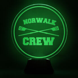 Crew Acrylic LED Lamp Crossed Oars With Name