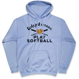 Softball Hooded Sweatshirt - Girls Just Wanna Play Softball with Glitter