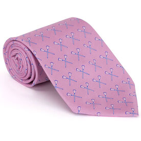 Crossed Lacrosse Sticks - Pink Lacrosse Silk Tie