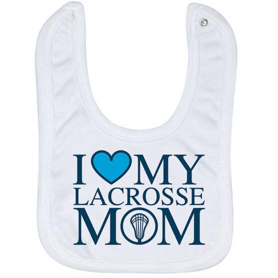 Guys Lacrosse Baby Bib - I Love My Lacrosse Mom
