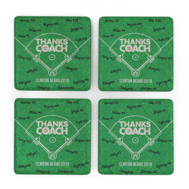 Baseball Stone Coasters Set of Four - Coach (Autograph)