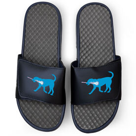 Girls Lacrosse Navy Slide Sandals - Lexi the Lax Dog