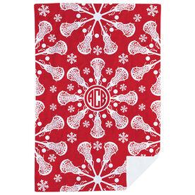 Girls Lacrosse Premium Blanket - Lax Snowflake Monogram