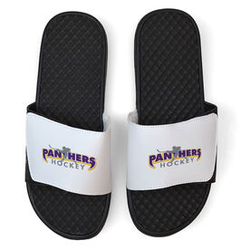 Hockey White Slide Sandals - Your Logo
