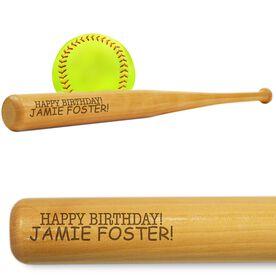 Softball Mini Engraved Bat Happy Birthday