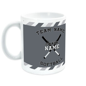 Softball Coffee Mug Personalized Coach with Crossed Bats