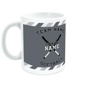 Softball Coffee Mug Personalized Coach with Crossed Bats