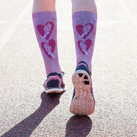 Track and Field Printed Mid-Calf Socks - Watercolor Heart Winged Foot