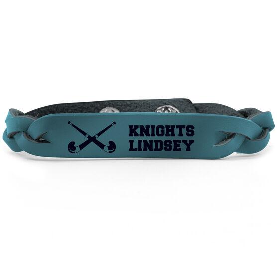 Field Hockey Leather Engraved Bracelet Personalized