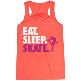 Figure Skating Flowy Racerback Tank Top - Eat Sleep Skate (Bold Text)