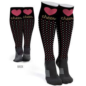 Cheerleading Printed Knee-High Socks - Cheer Heart With Dots