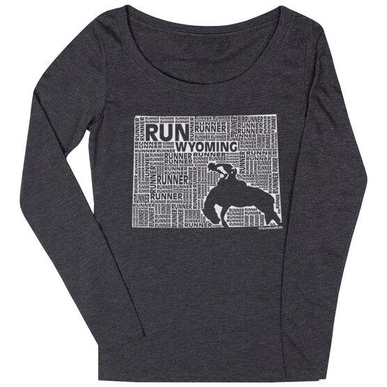 Women's Scoop Neck Long Sleeve Runners Tee Wyoming State Runner