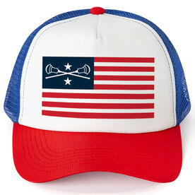 Guys Lacrosse Trucker Hat - American Flag
