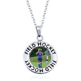 Field Hockey Circle Necklace - Custom Photo