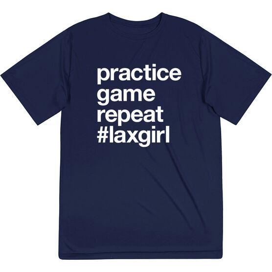 Girls Lacrosse Short Sleeve Performance Tee - Practice Game Repeat