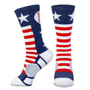 Baseball Woven Mid-Calf Socks - Patriotic